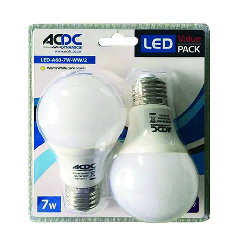 ACDC LED Twin Lamp Pack E27 7W 560lm Cool White