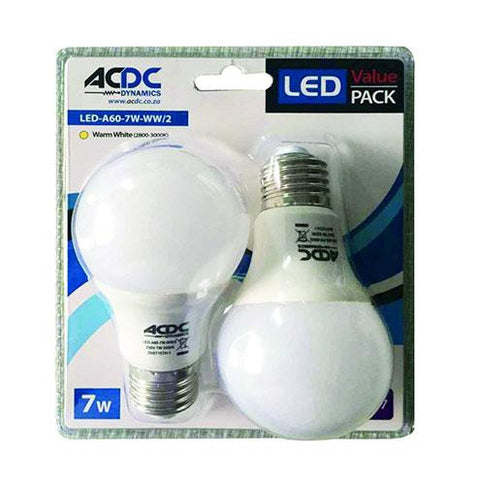 ACDC LED Twin Lamp Pack E27 7W 560lm Warm White