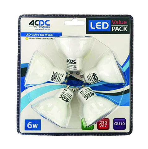 ACDC LED Penta Lamp Pack GU10 6W 440lm Cool White