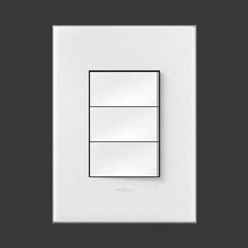 Legrand Arteor Dimmer Press + 2 Lever Switch - White P3DSWWH