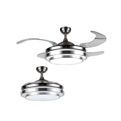 "Bright Star 42"" 4 Retractable Blade Ceiling Fan with Light and Remote - Satin Chrome"