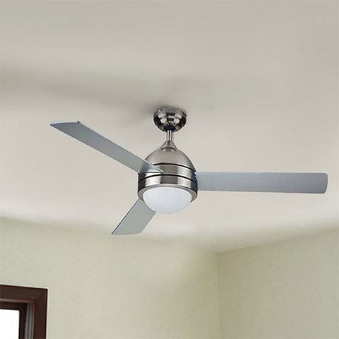 Bright Star 3 Blade Satin Nickel Ceiling Fan With Light
