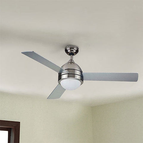 "Bright Star 48"" 3 Blade Ceiling Fan with Light and Wall Control - Satin Nickel"