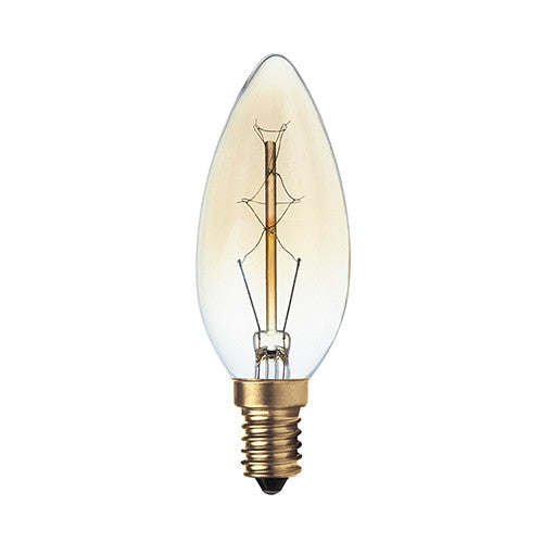 Bright Star Carbon Filament Candle Bulb E14 40W - Warm White