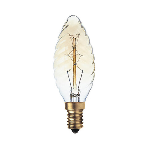 Bright Star Carbon Filament Twisted Candle Bulb E14 40W - Warm White
