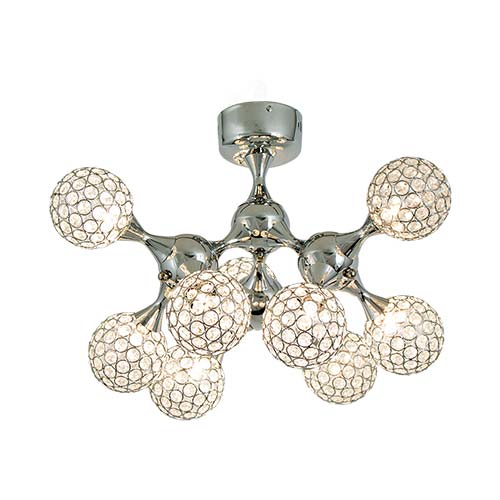Bright Star Polished Chrome with Crystal Globes