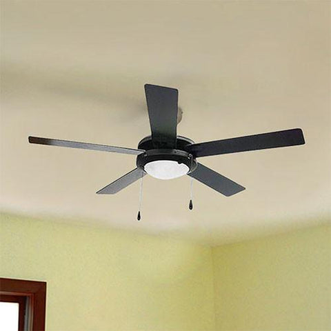 "Bright Star 52"" 5 Blade Ceiling Fan with Lights - Black"