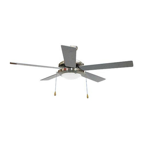 "Bright Star 52"" 5 Blade Ceiling Fan with Lights - Satin Chrome"