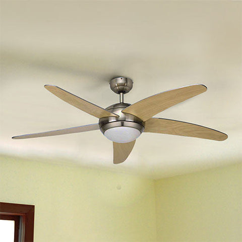 "Bright Star 52"" 5 Blade Ceiling Fan with Light and Remote - Satin Chrome"