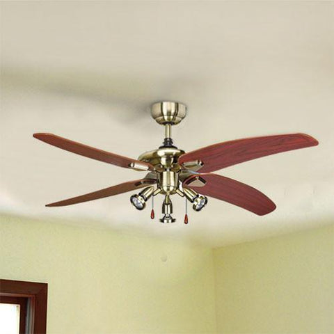 "Bright Star 50"" 4 Blade Ceiling Fan with Lights - Antique"