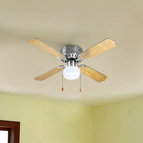 "Bright Star 42"" 4 Blade Ceiling Fan with Light - Satin Chrome"