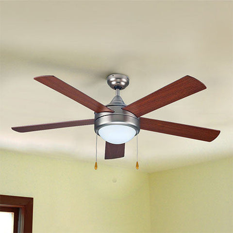 Bright Star Matt Nickel Ceiling Fan With Light