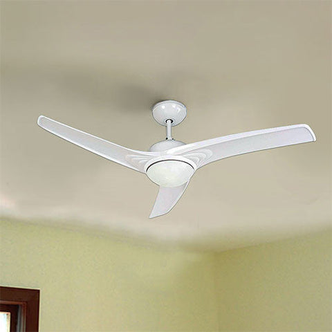 "Bright Star 52"" 3 Blade Ceiling Fan with Light and Remote - White"