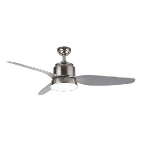 "Bright Star 48"" 3 Blade Ceiling Fan with Light and Remote - Satin Chrome"