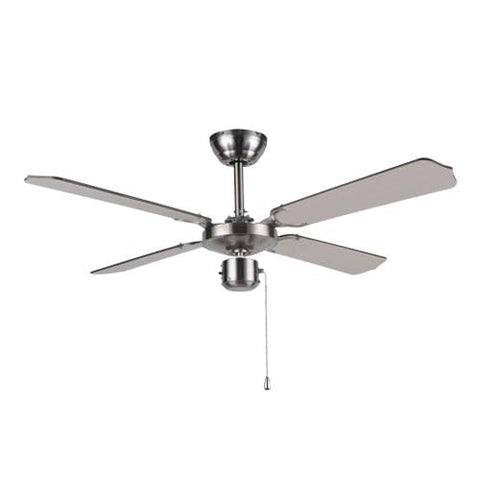 Bright Star Satin Crome Ceiling Fan With Light