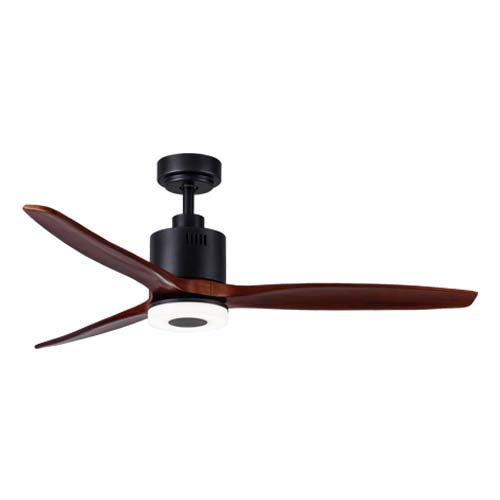 Bright Star Black Ceiling Fan with Wood Blades with Light