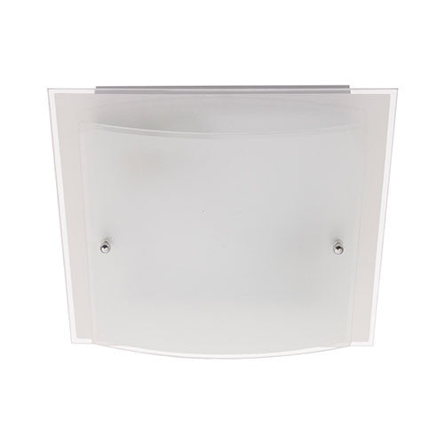 Bright Star Frosted Glass with Polished Chrome Clips Ceiling Light 400mm