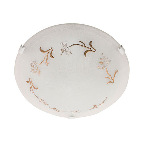 Bright Star Gold Patterned White Glass With White Clips Ceiling Light 400mm