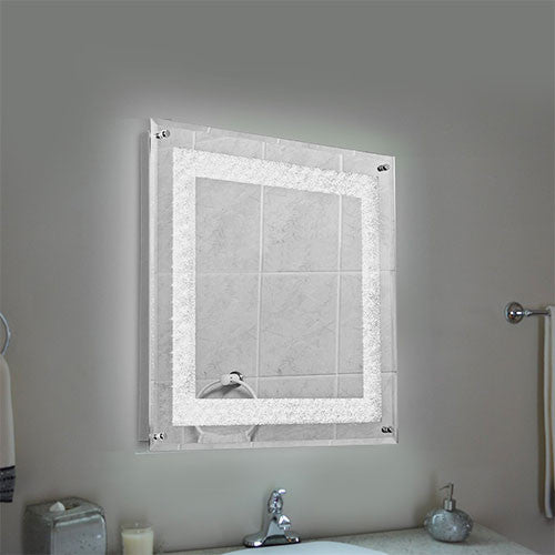 Bright Star Polished Chrome & Crystal Bathroom Mirror