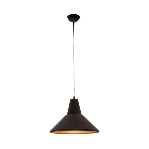 Bright Star Black Metal Conical Pendant With Gold Inner
