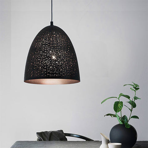 Bright Star Perforated Black Metal Pendant Large
