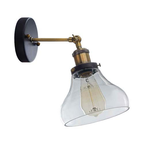 Bright Star Antique Brass Wall Light Clear with Glass