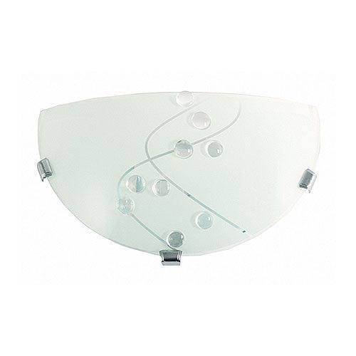Bright Star Metal Base with Patterned Frosted Glass and Chrome Clips Wall Light