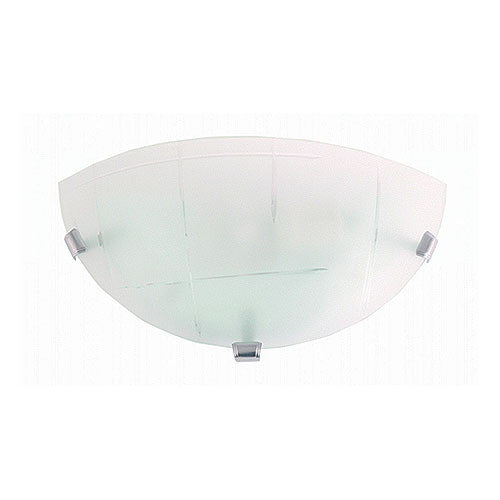 Bright Star Lighting Metal Base With Square Patterned Frosted Glass And Chrome Clips Wall Light