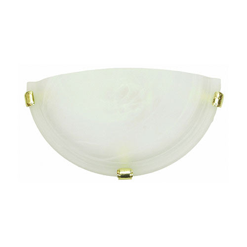 Bright Star Lighting Metal Base With Alabaster Glass And Gold Clips Wall Light