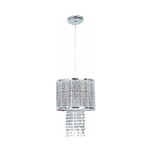 Bright Star Polished Chrome Pendant with Silver Beads