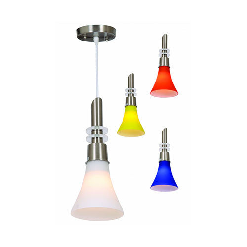 Bright Star Satin Chrome Pendant with Colour Glass