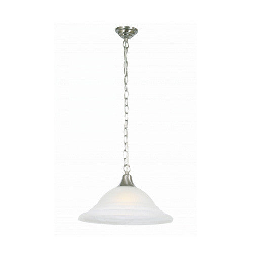 Bright Star Satin Chrome Pendant With White Glass And Chain