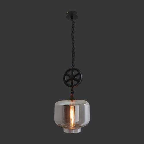 K. Light Industrial Square Pendant with Smoke Glass