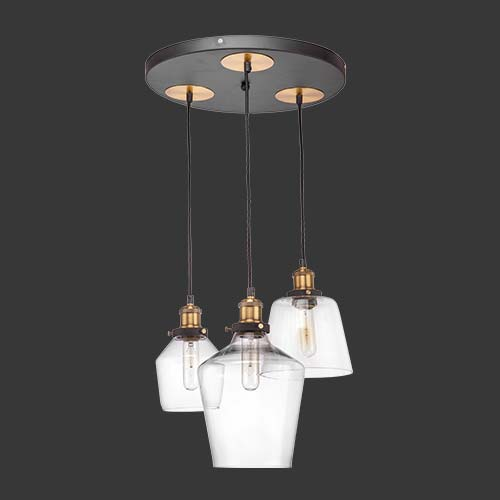 K. Light Antique Brass & Glass Pendant Cluster