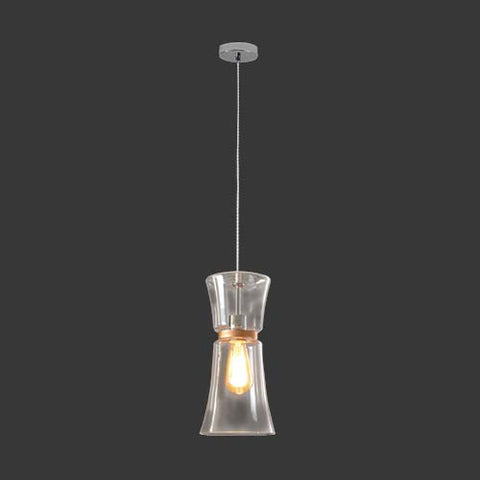 K. Light Copper Lined Clear Glass Pendant