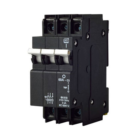 CBi Mini Rail Circuit Breaker 3 Pole 3kA - QA-3(13)