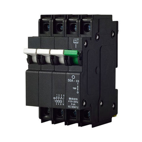 CBi Mini Rail Circuit Breaker 3 Pole + N 3kA - QA-N-4(13)