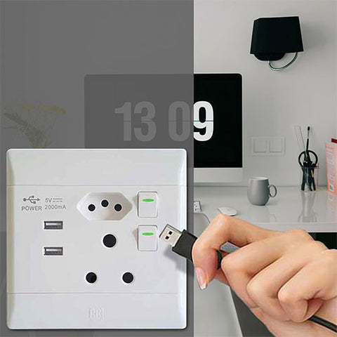 CBi Slimline USB Combo Socket PS685USB-P