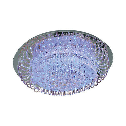 Polished Chrome Ceiling Light With LED And Crystals