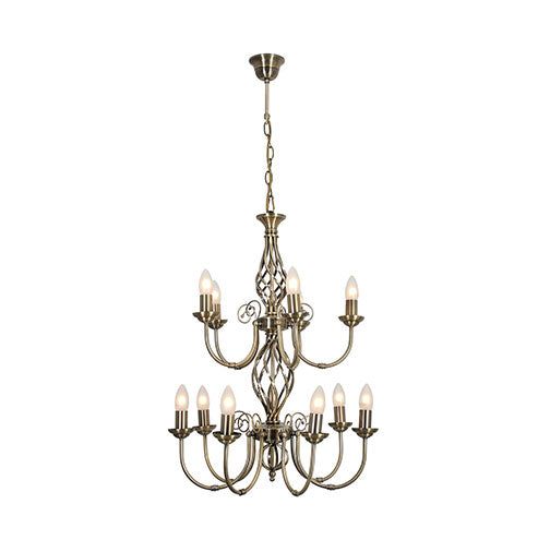 Eurolux Amy 12 Light Chandelier - Antique Brass
