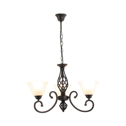 Bright Star Metal Chandelier with Alabaster Glass