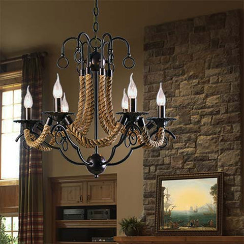 Bright Star Metal Chandelier with Rope CH475/6 BROWN