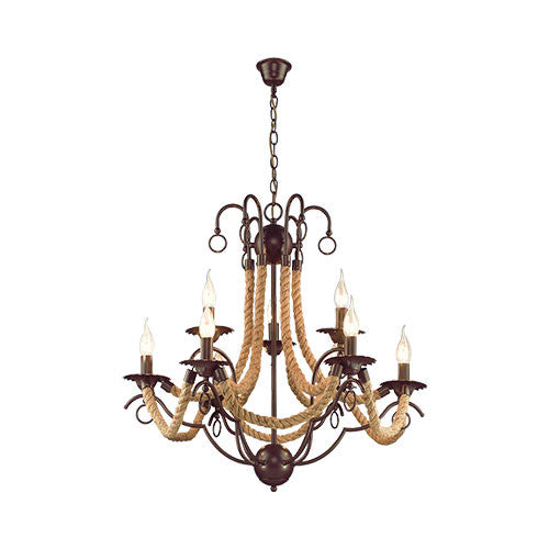 Bright Star Metal Chandelier with Rope