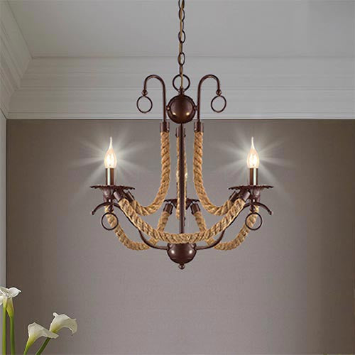 Metal Chandelier With Rope