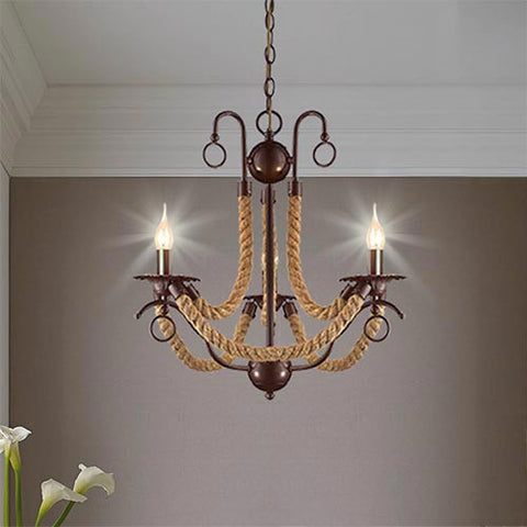 Bright Star Metal Chandelier with Rope CH475/3 BROWN