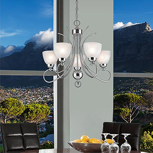 Polished Chrome Chandelier with Frosted Glass CH476/5 CHR