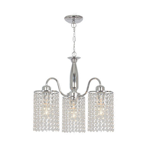 Bright Star Polished Chrome Chandelier with Clear Acrylic Crystals