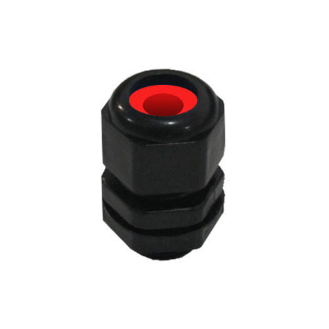 Matelec Cable Gland No 1 Flat Black With Red Grommet