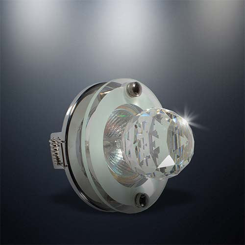 Eurolux Round Downlight With Crystal Glass 60mm Cut Out