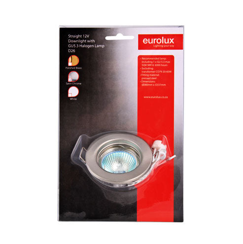 Eurolux Complete Straight Low Voltage Downlight Kit with GU5.3 Halogen Lamp